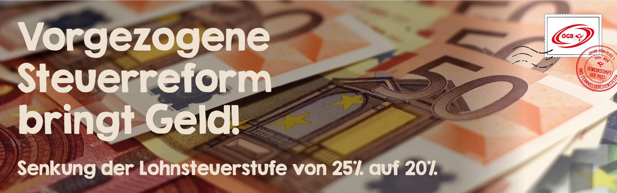 Steuerreform Senkung der Lohnsteuerstufe von 25%auf 20%_Banner